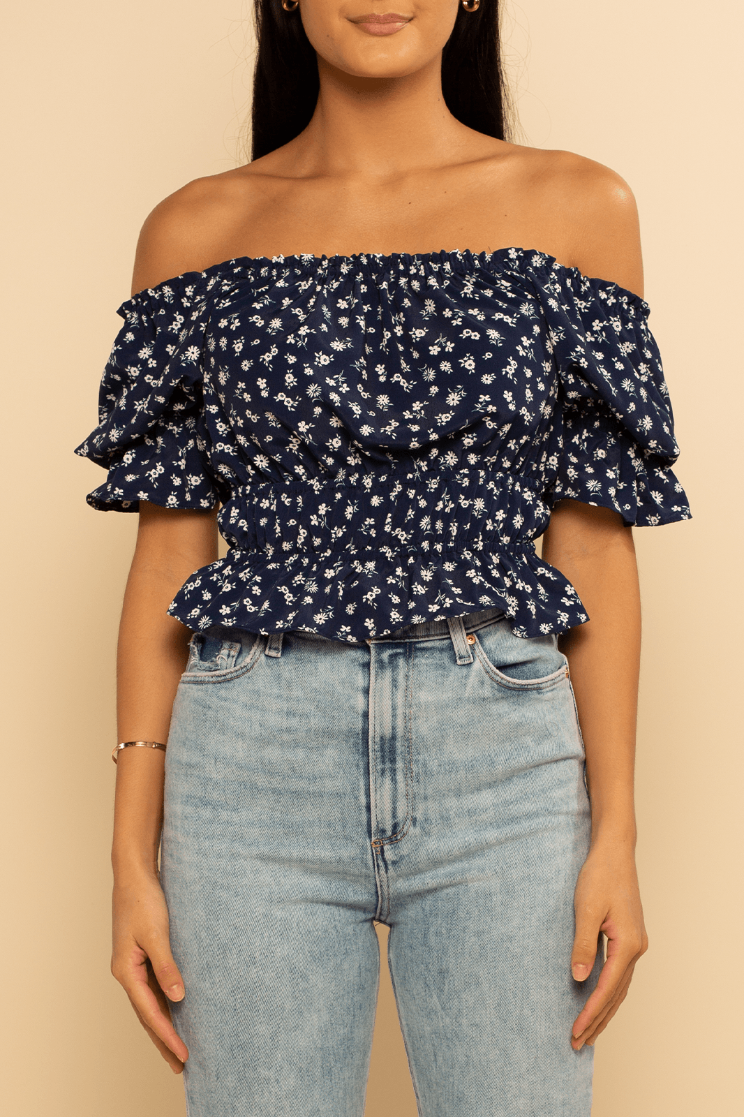 Croatia Ruffle Top - Navy Ditsy - Shore