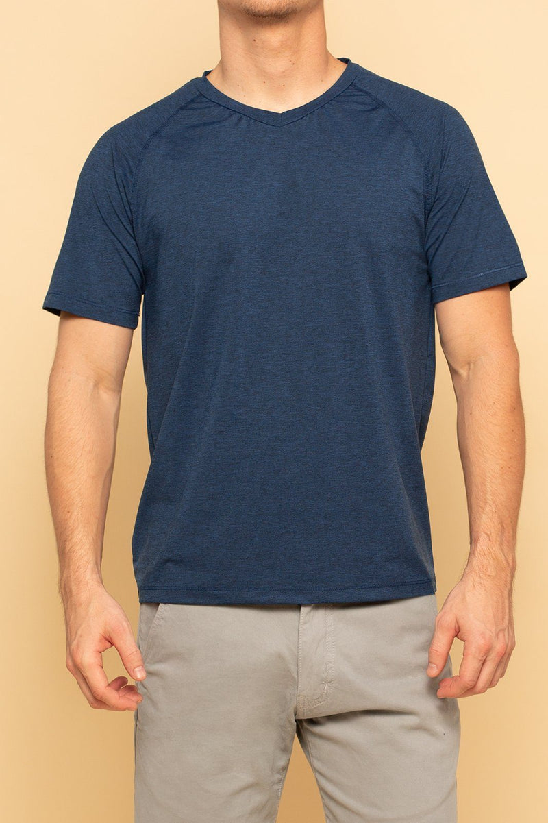 Shore Men's Active V-Neck Tee | Blue - Shore