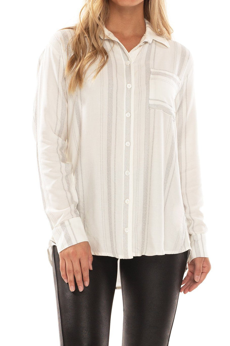 Button Up Tunic - Siesta Stripe - Shore