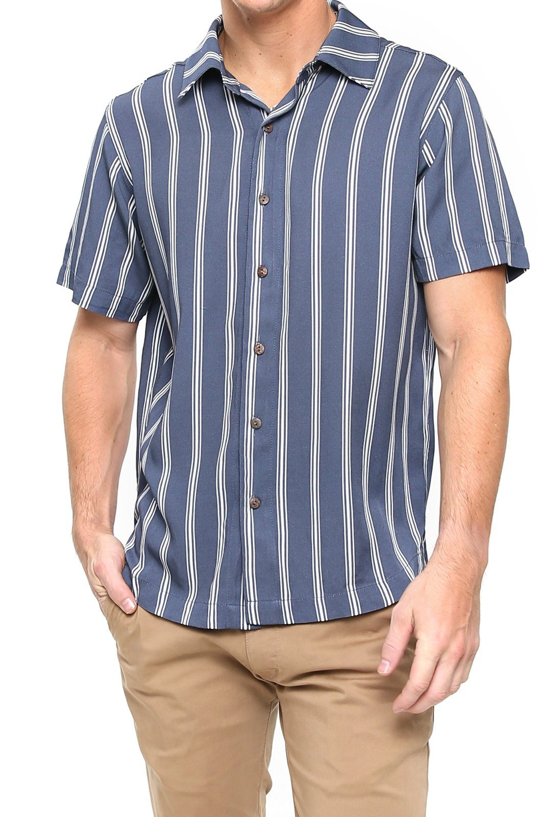 Shore Men's Camp Shirt - Navy Stripe - Shore