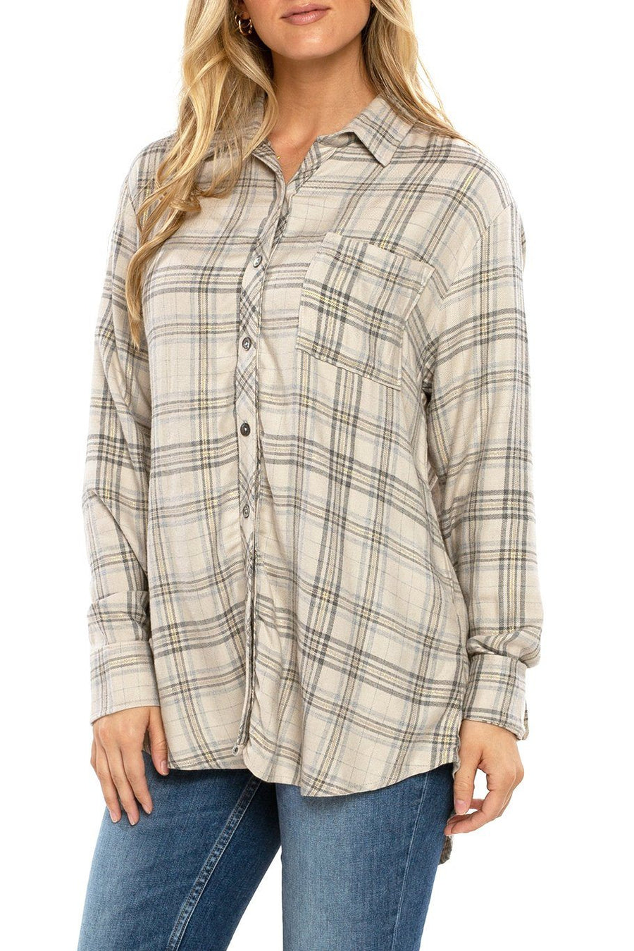 Button Up Tunic Lurex - Flannel - Shore