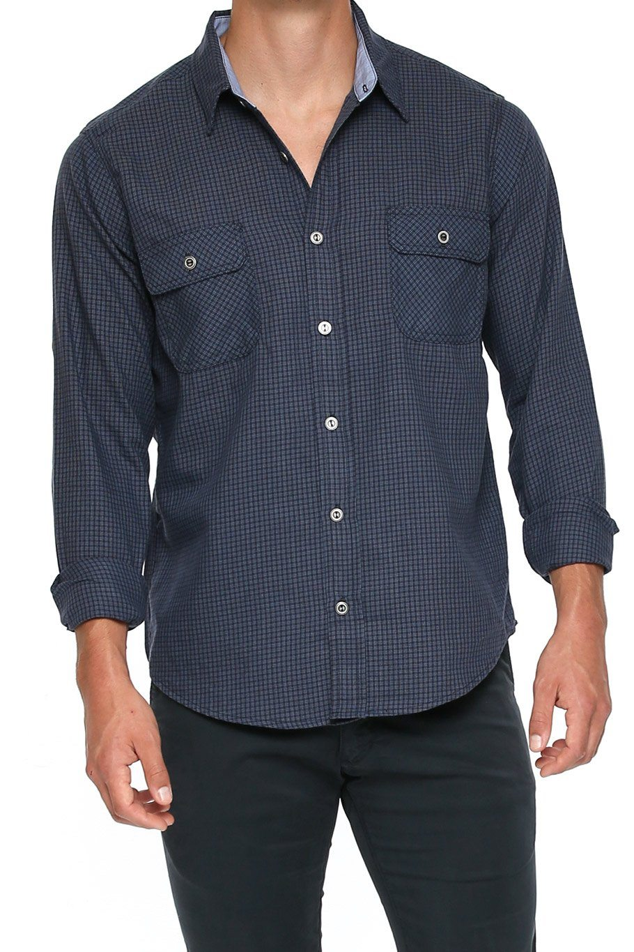 Men's Button Up Shirt - Blue Check - Shore