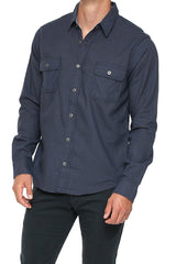 Men's Button Up Shirt -Navy Checkered