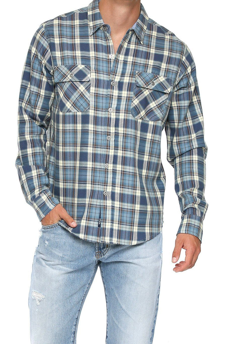 Men's Button Up Shirt - Blue Plaid - Shore