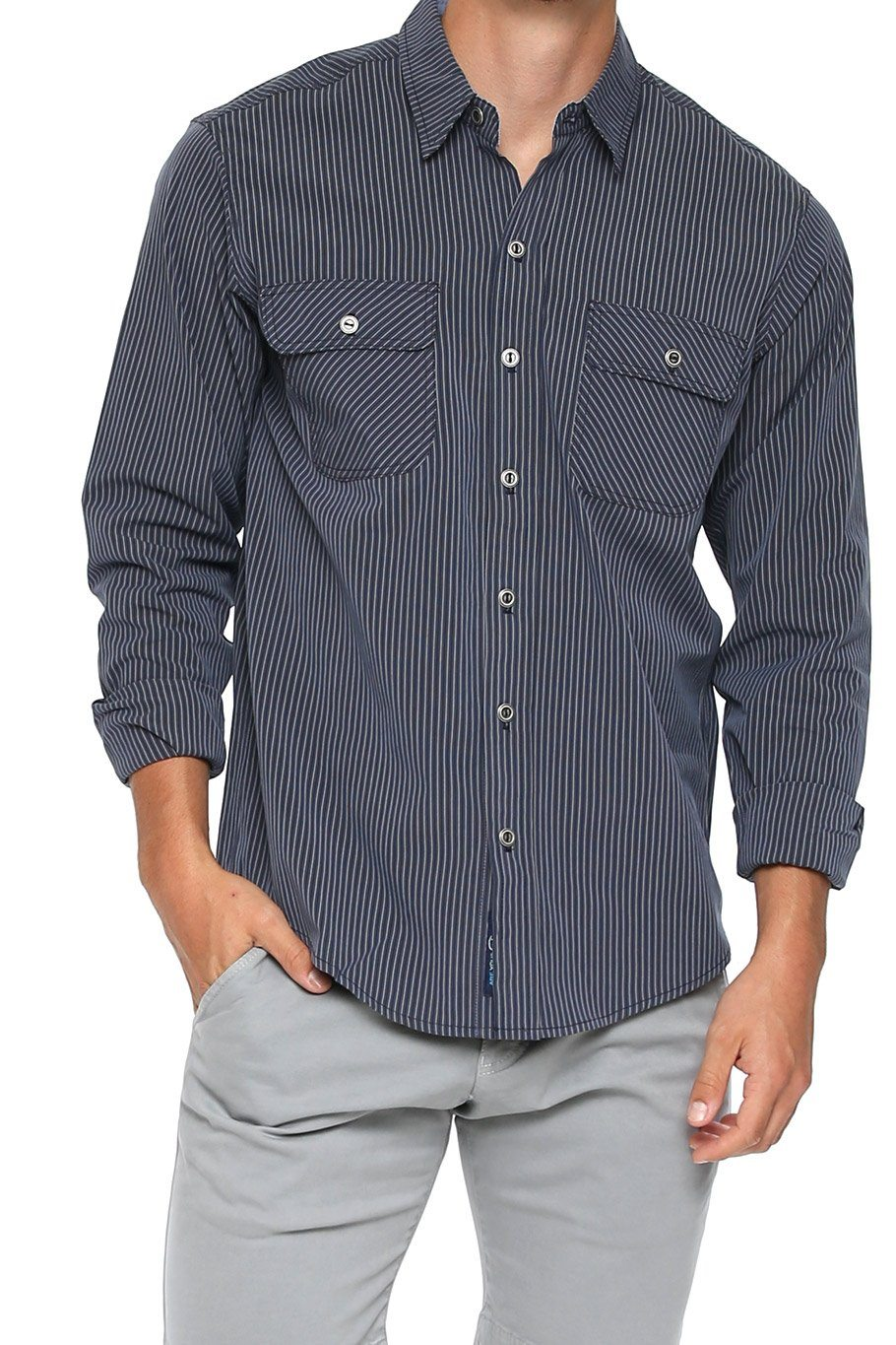 Men's Button Up Shirt - Grey Stripe - Shore