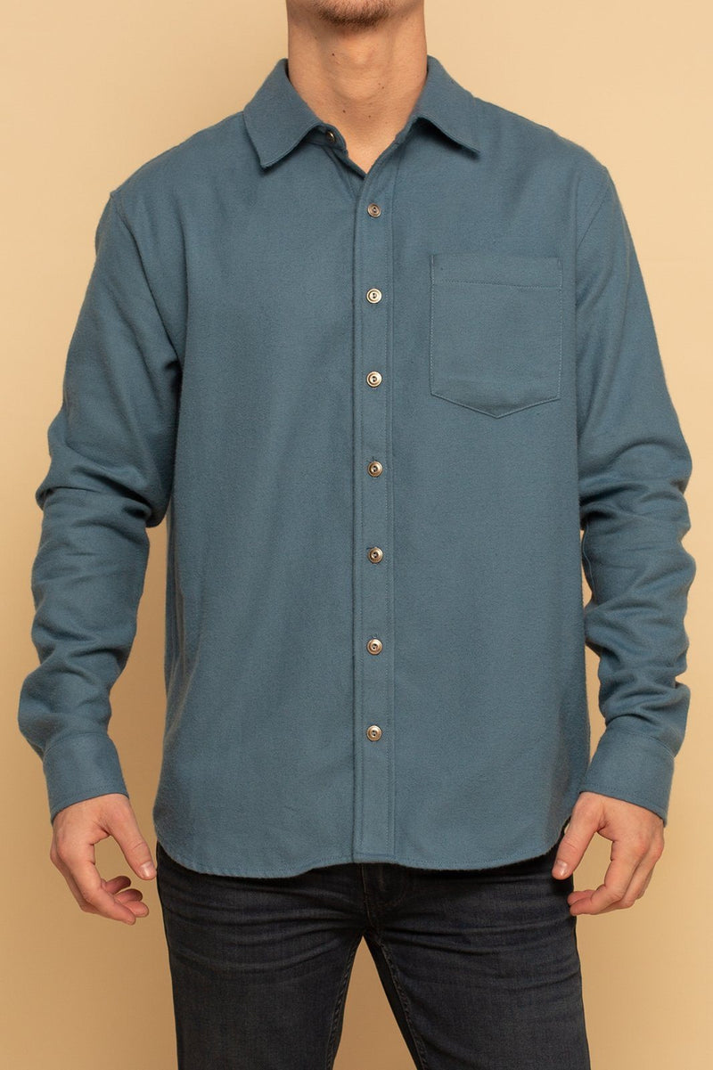Shore Flannel Button Up Shirt - Steel Blue - Shore