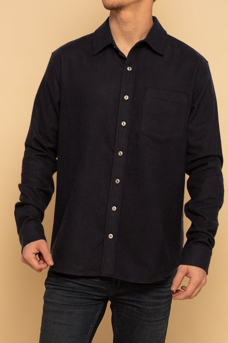Shore Flannel Button Up Shirt - Navy - Shore