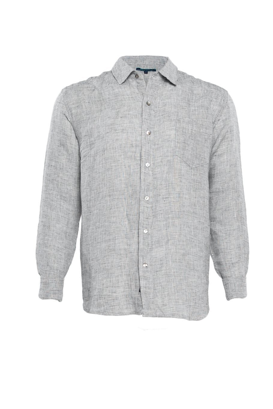 Linen Button Up Shirt - Salt & Pepper