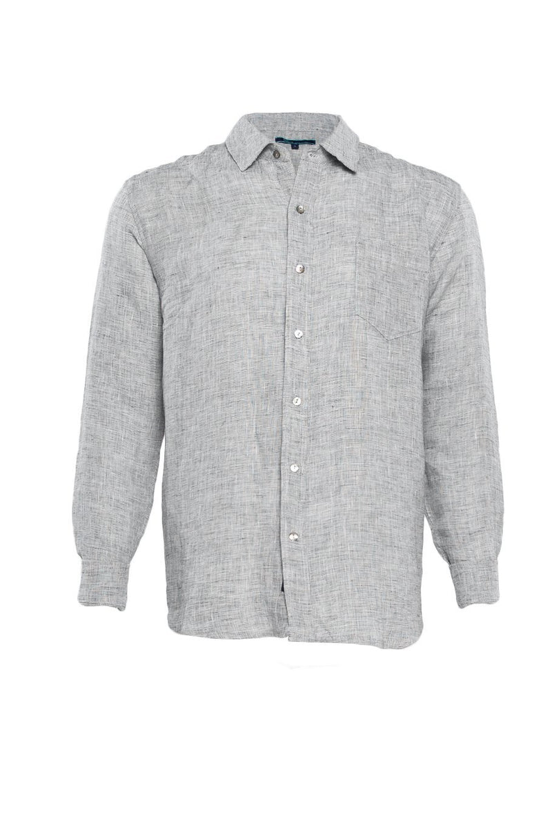 Linen Button Up Shirt - Salt & Pepper - Shore