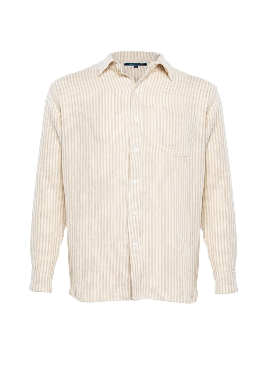 Linen Button Up Shirt - Oatmeal Stripe