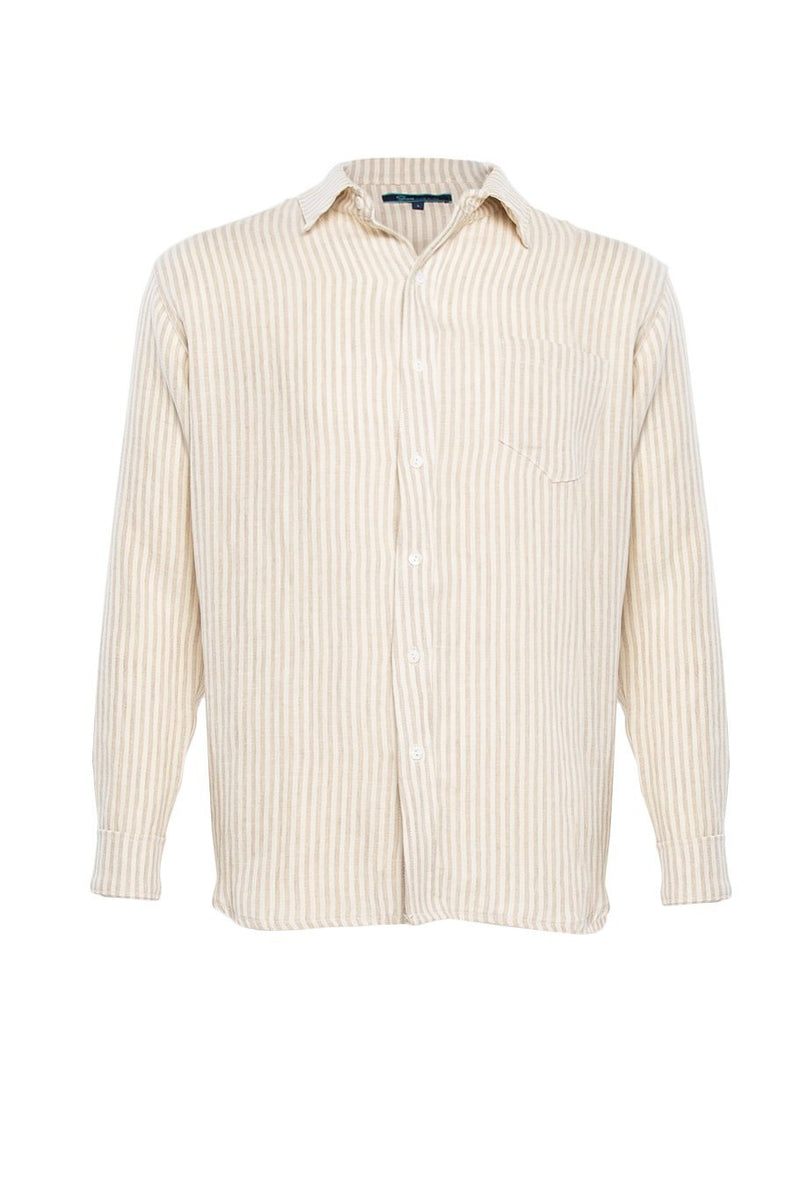 Linen Button Up Shirt - Oatmeal Stripe - Shore