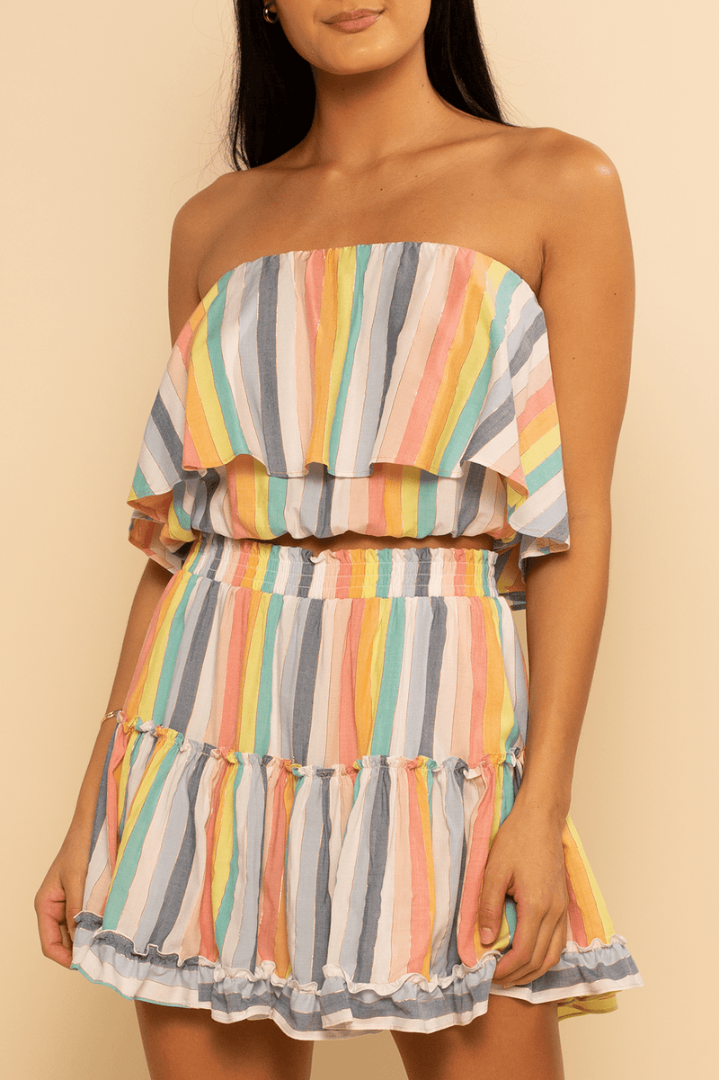 Huntington Layered Top - Rainbow Stripe - Shore