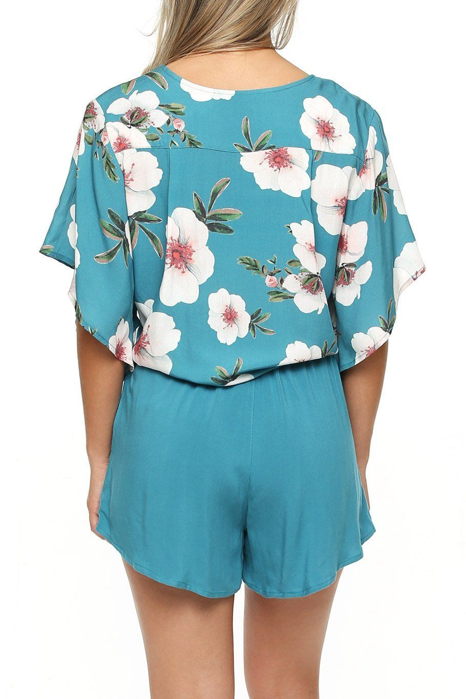 Canary Flutter Sleeve - Teal Floral - Shore