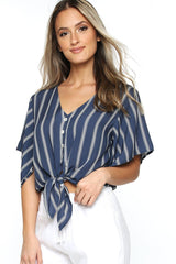 Canary Flutter Sleeve - Navy Stripe
