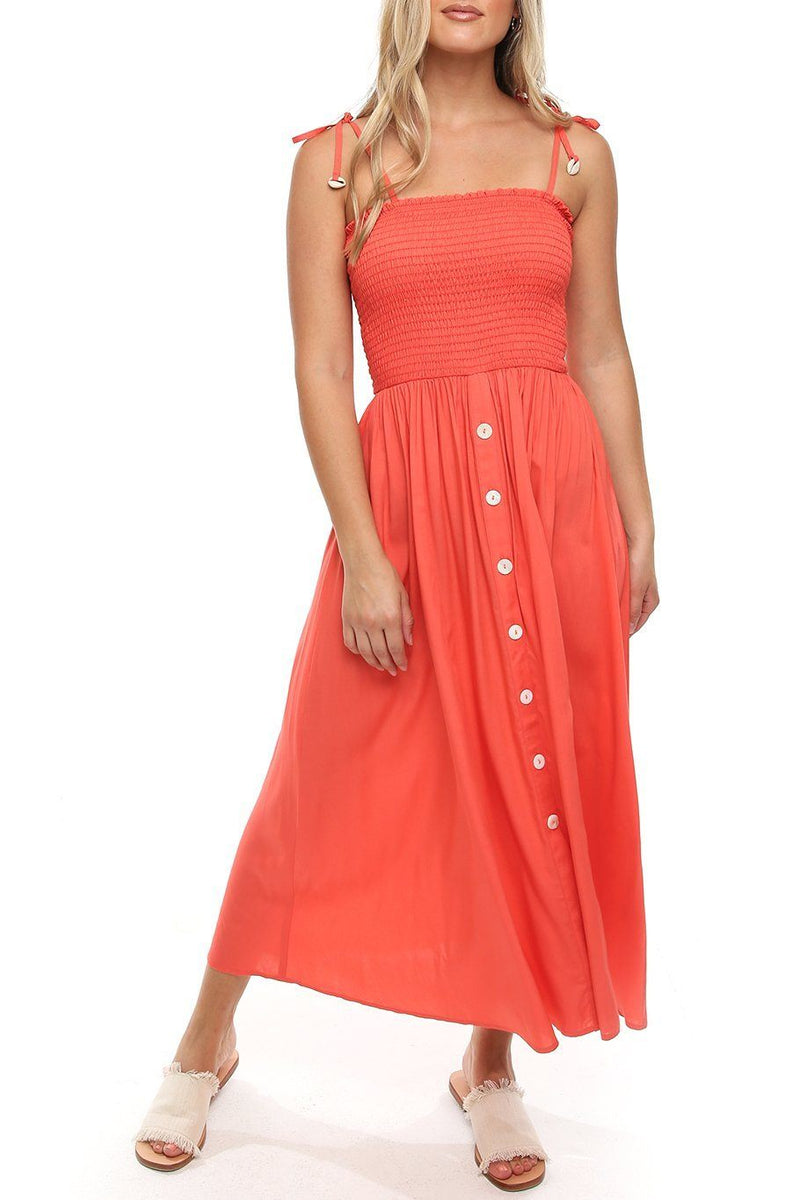Button Capri Dress - Coral - Shore