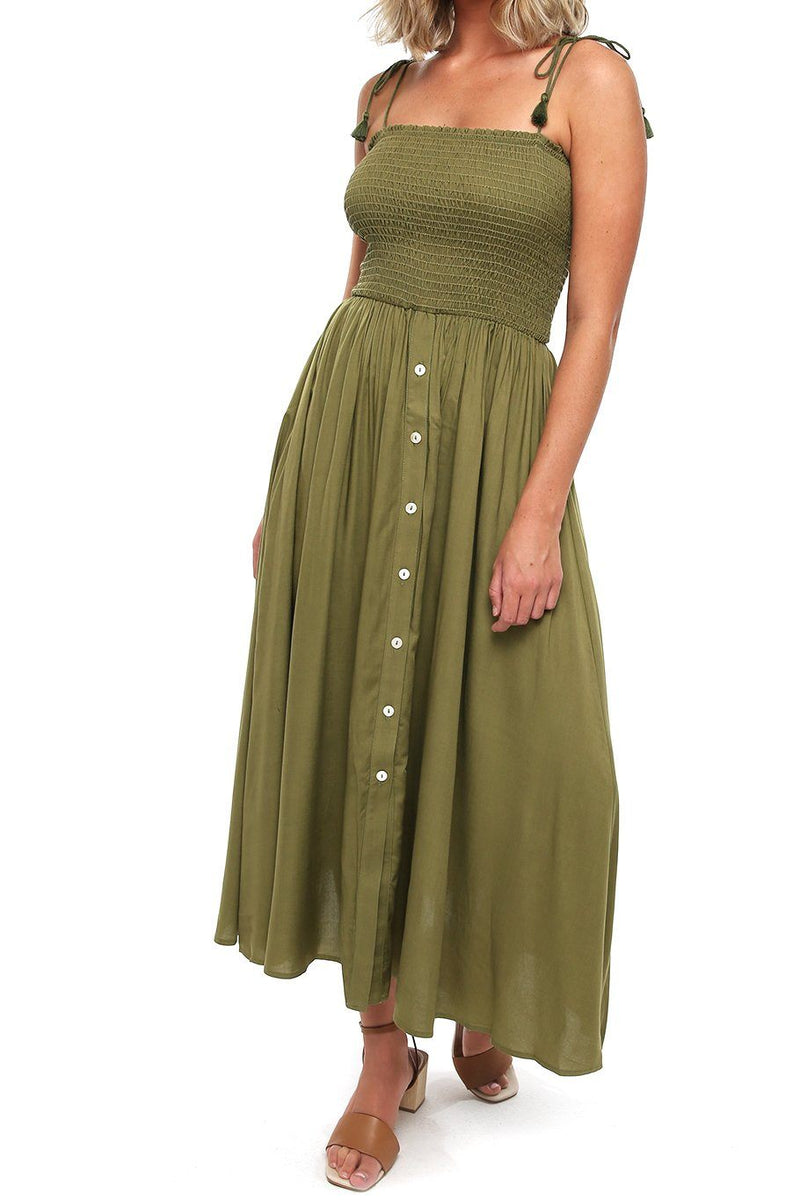Button Capri Dress - Moss - Shore