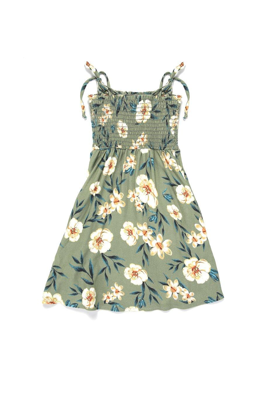 Girls Capri Dress - Green Floral - Shore