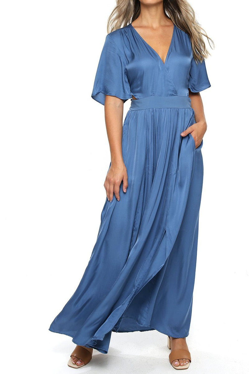 Catalina Cut Out Maxi - Dusty Blue - Shore