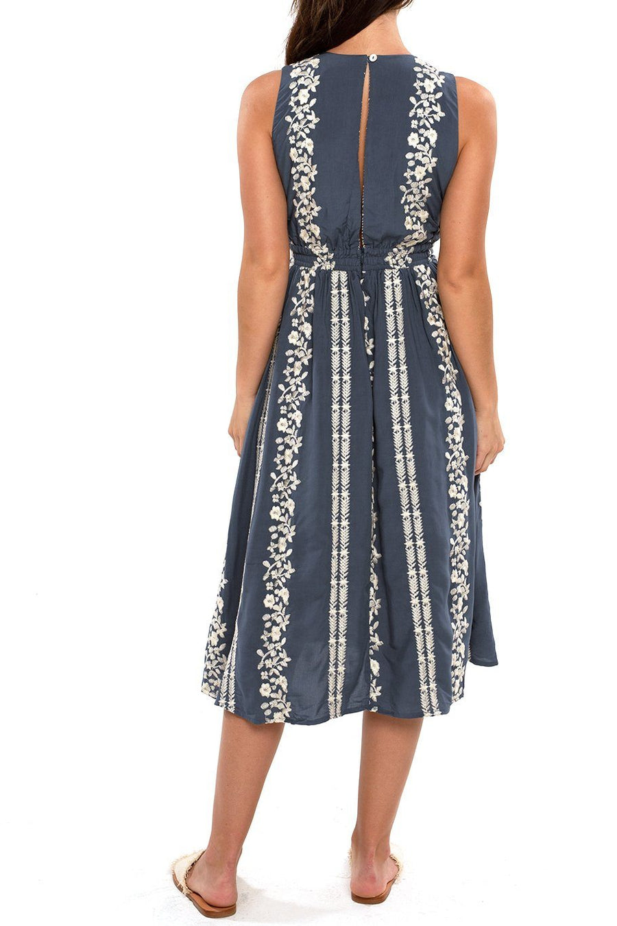 Magnolia Midi Dress - Mirage Embroidered