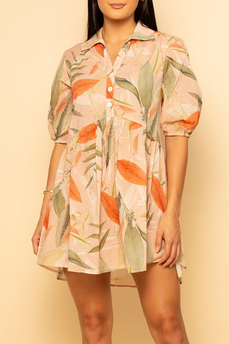 Charleston Babydoll Dress - Hawaiian Sunset