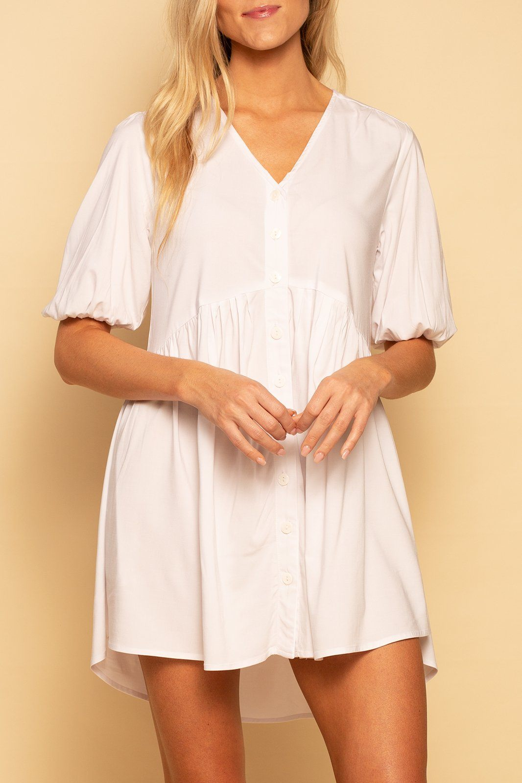 Charleston Babydoll Dress - White - Shore