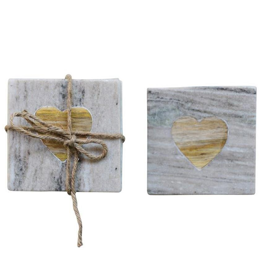 Square Marble Coaster Set of 4 - Shore
