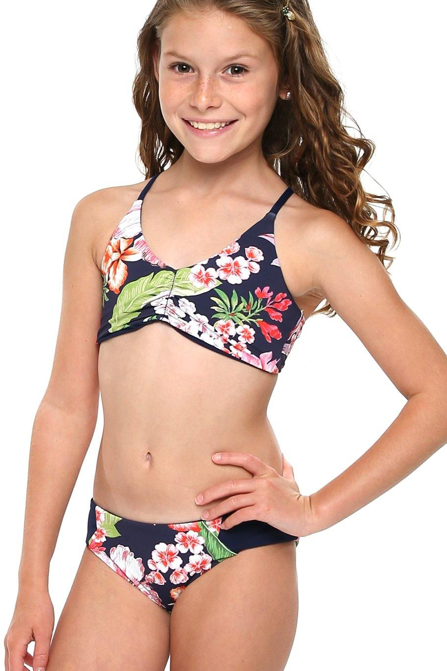 Girls Color Block Bottom - Navy Floral - Shore