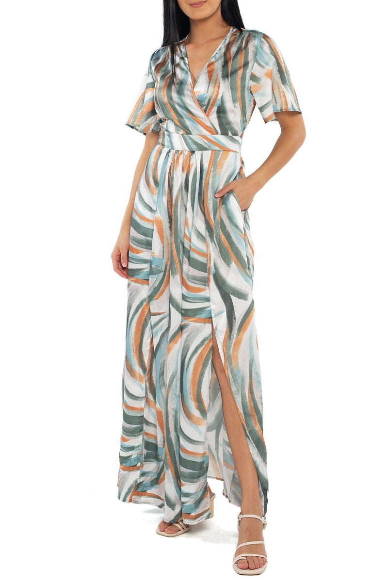 Catalina Cut Out Maxi - Watercolor Stripe - Shore
