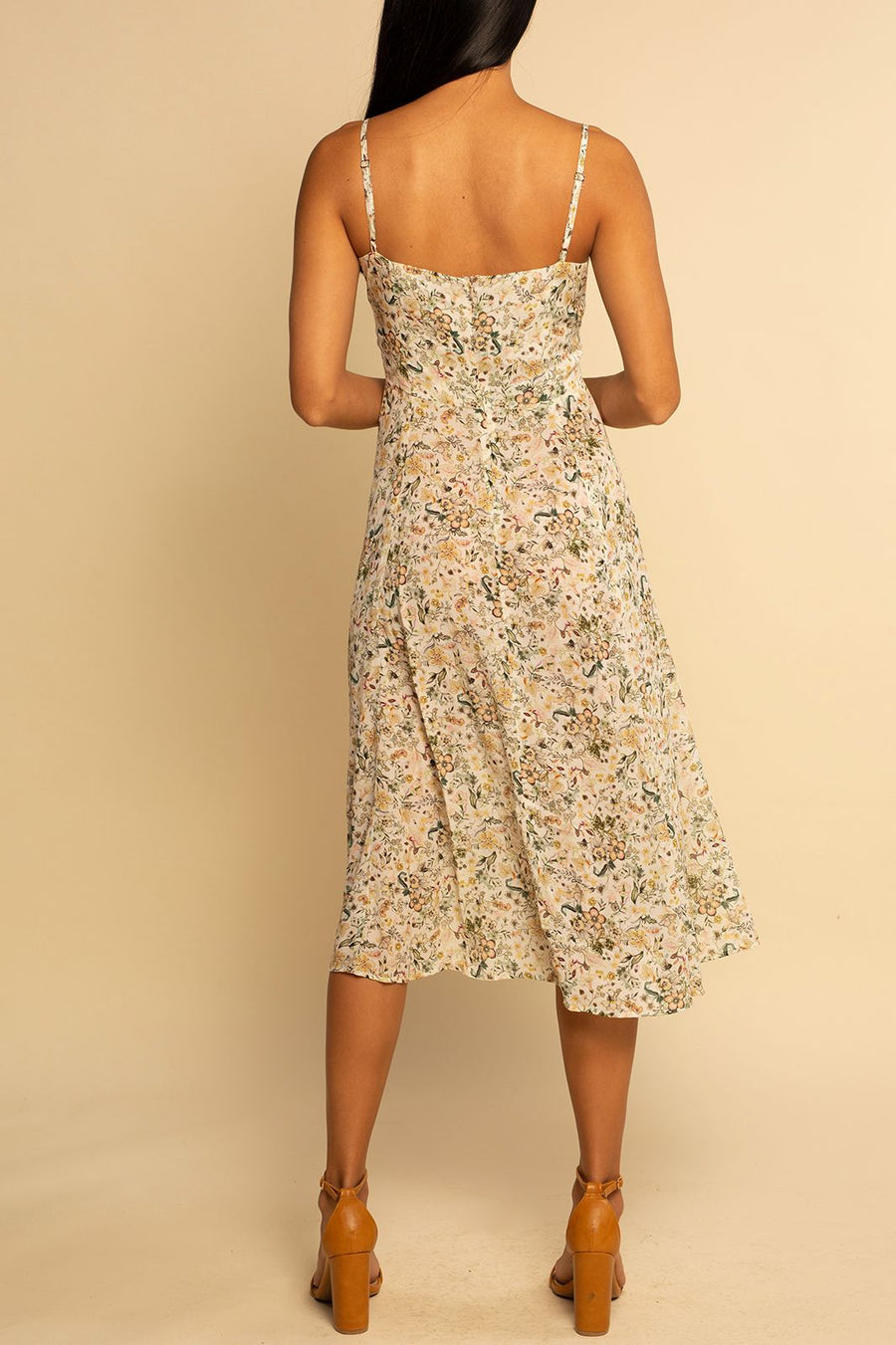 Como Square Neck Dress - Ditsy Floral - Shore