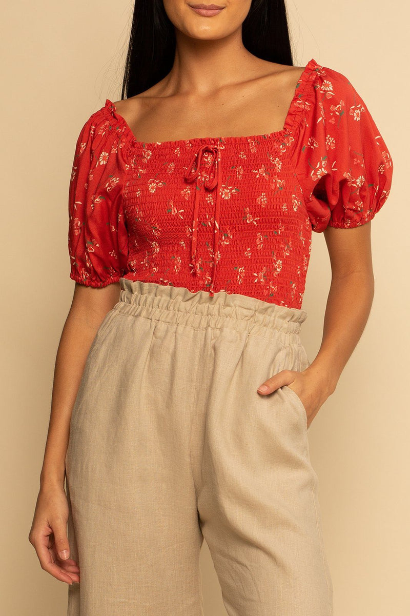 Panama Puff Sleeve top - Desert Flower - Shore