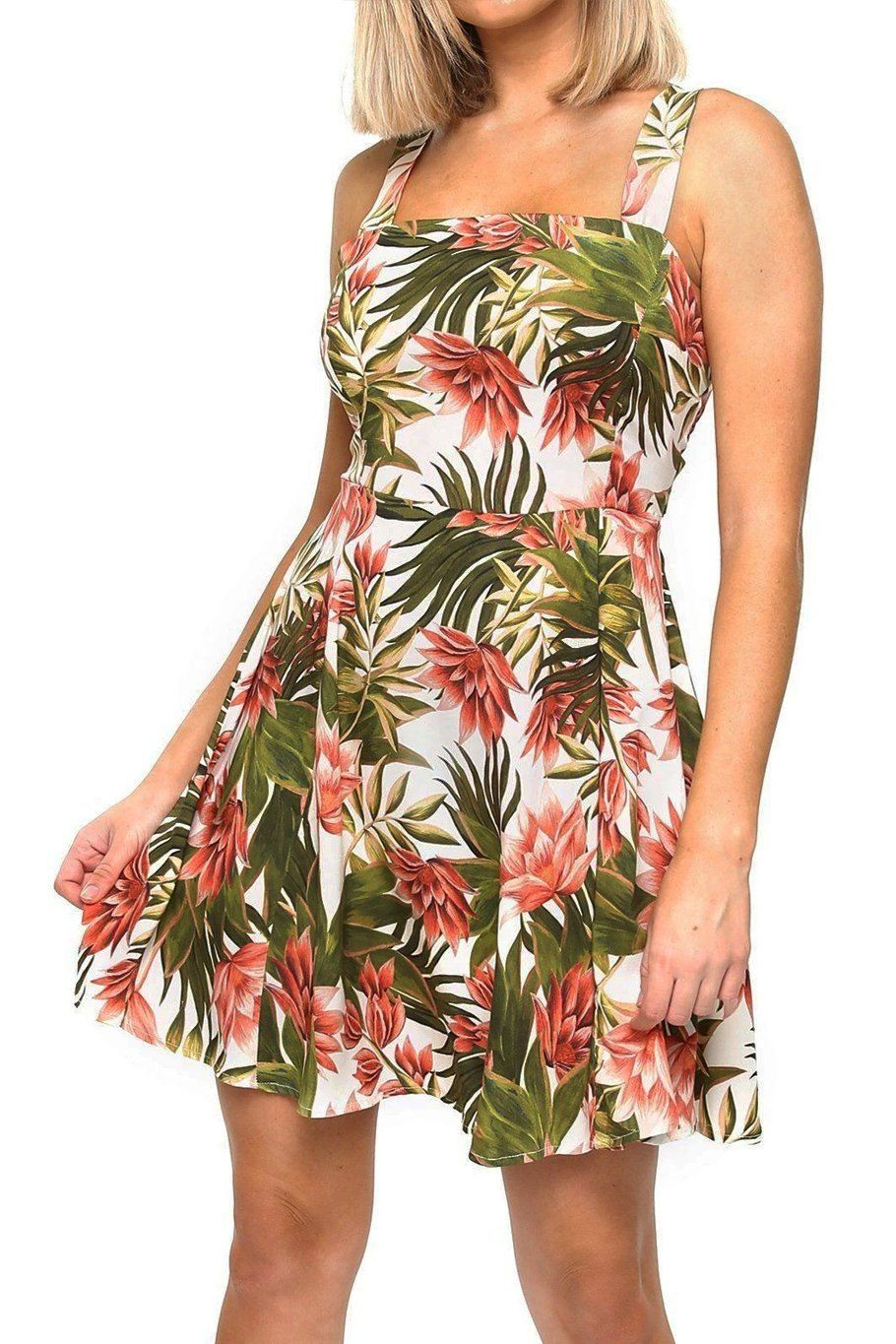 Tie Back Mini Dress - Tropical - Shore