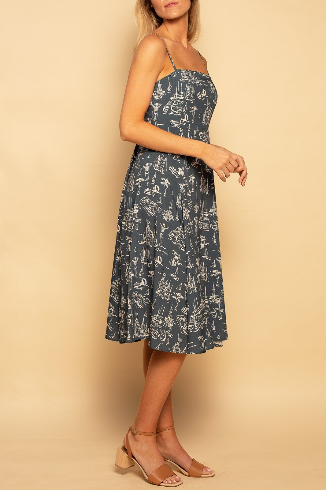 Como Square Neck Dress - Sail Away - Shore