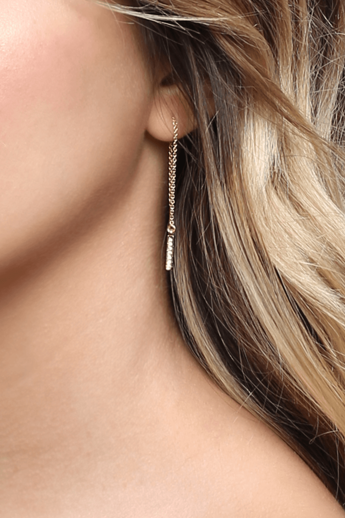 Gold Pave Threader Earring