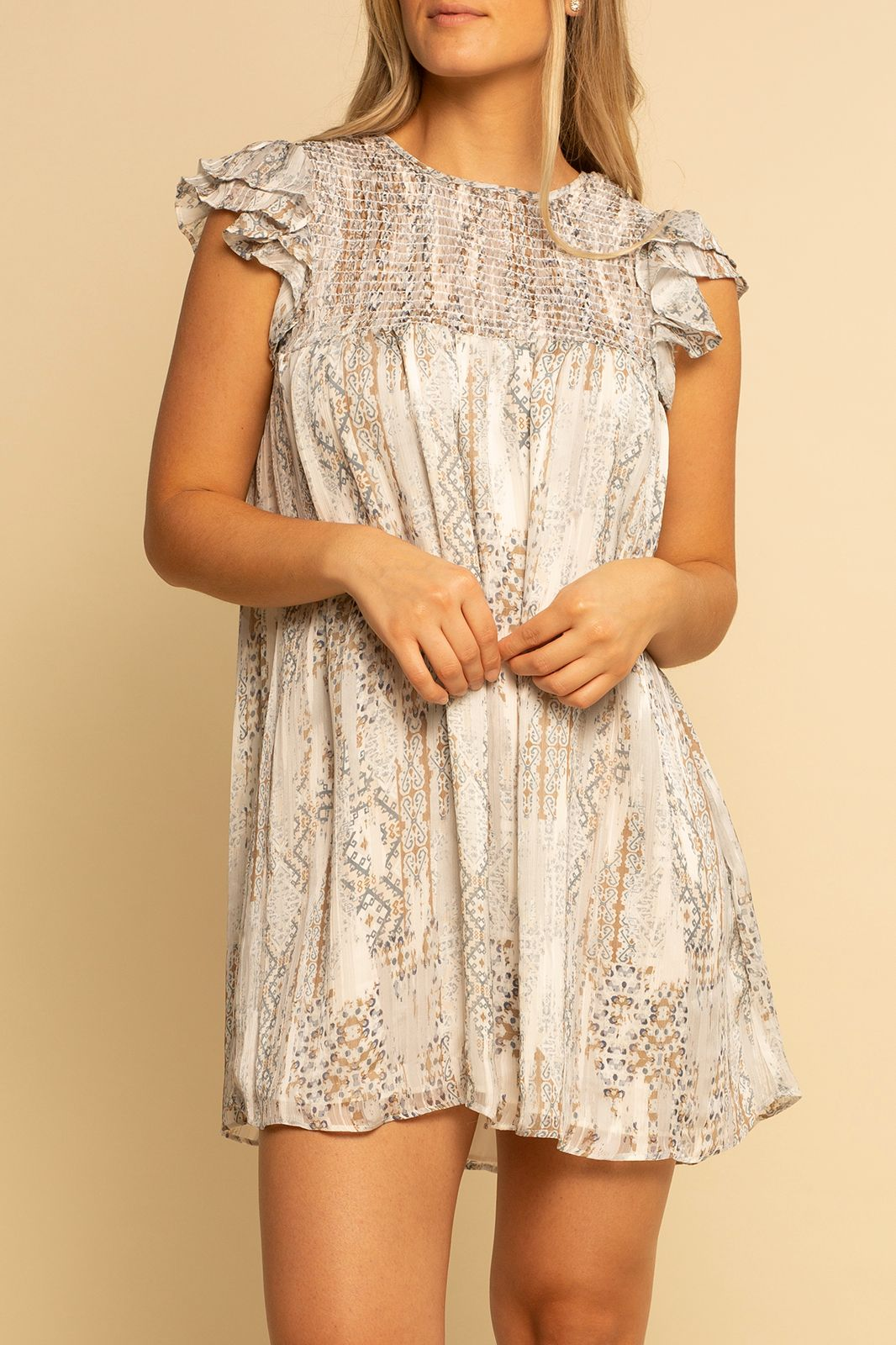 Smocked Top Dress -  Fall Paisley - Shore