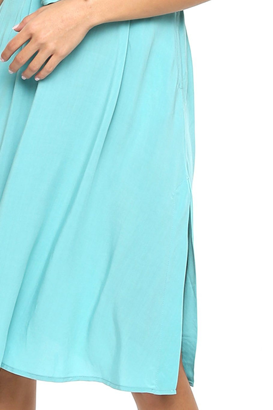 Tie Front Midi Dress - Seaglass - Shore