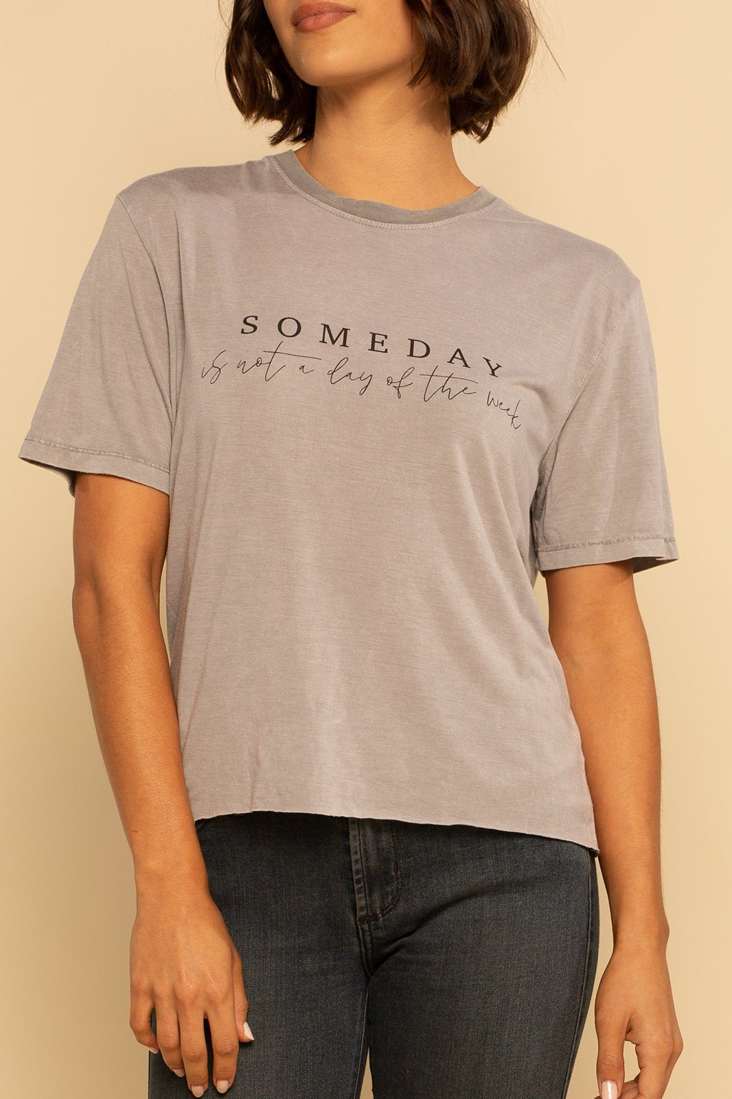 Someday Cropped Graphic Tee - Grey - Shore