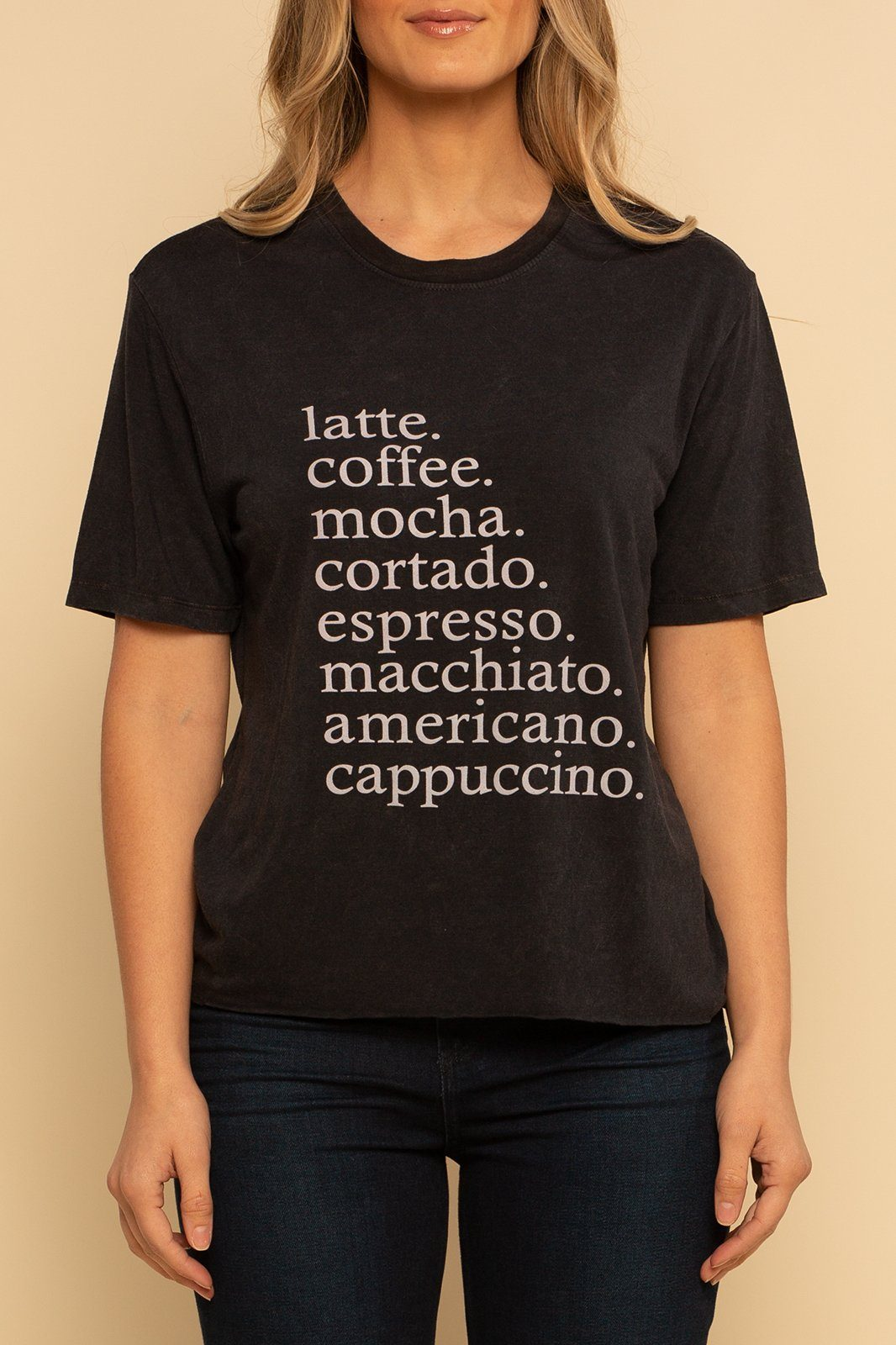Coffee Cropped Graphic Tee - Black - Shore