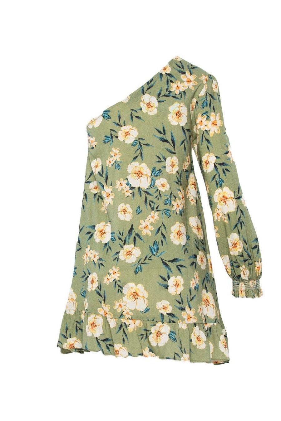 One Shoulder Dress - Green Floral