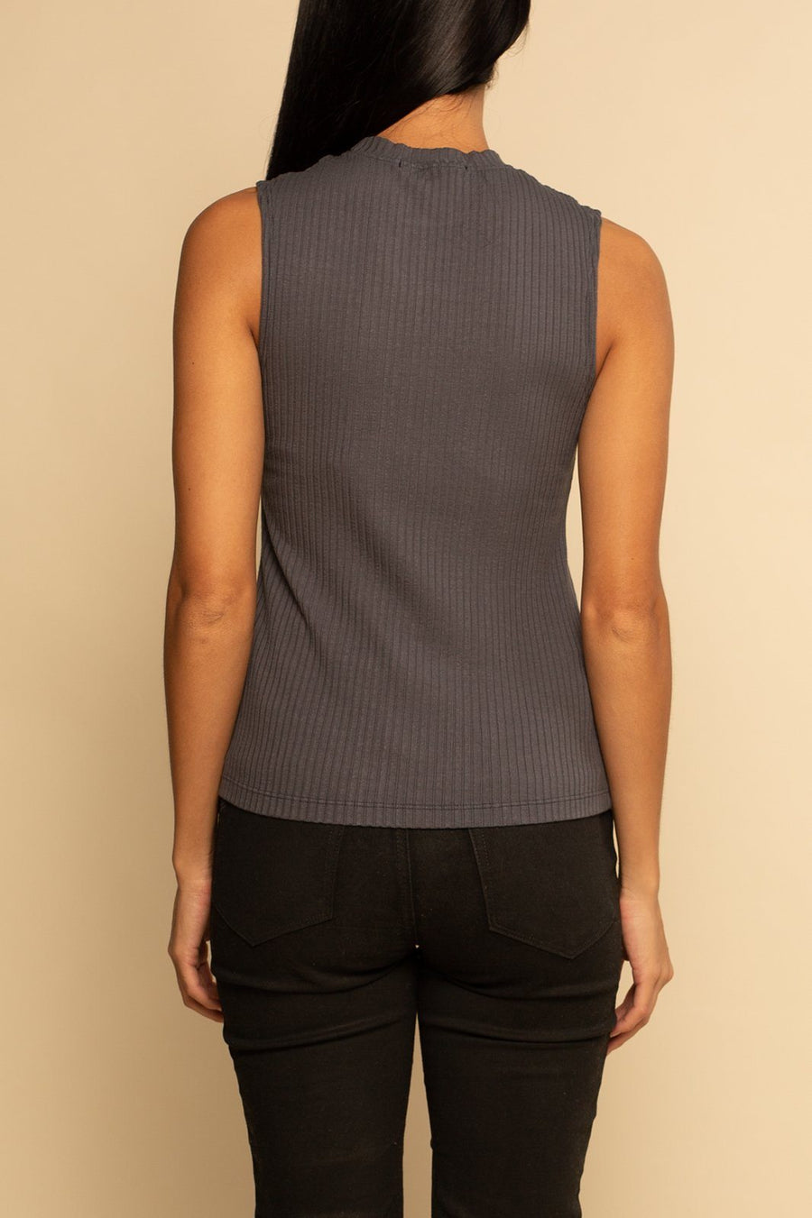 Brooklyn Ribbed Tank - Grey - Shore