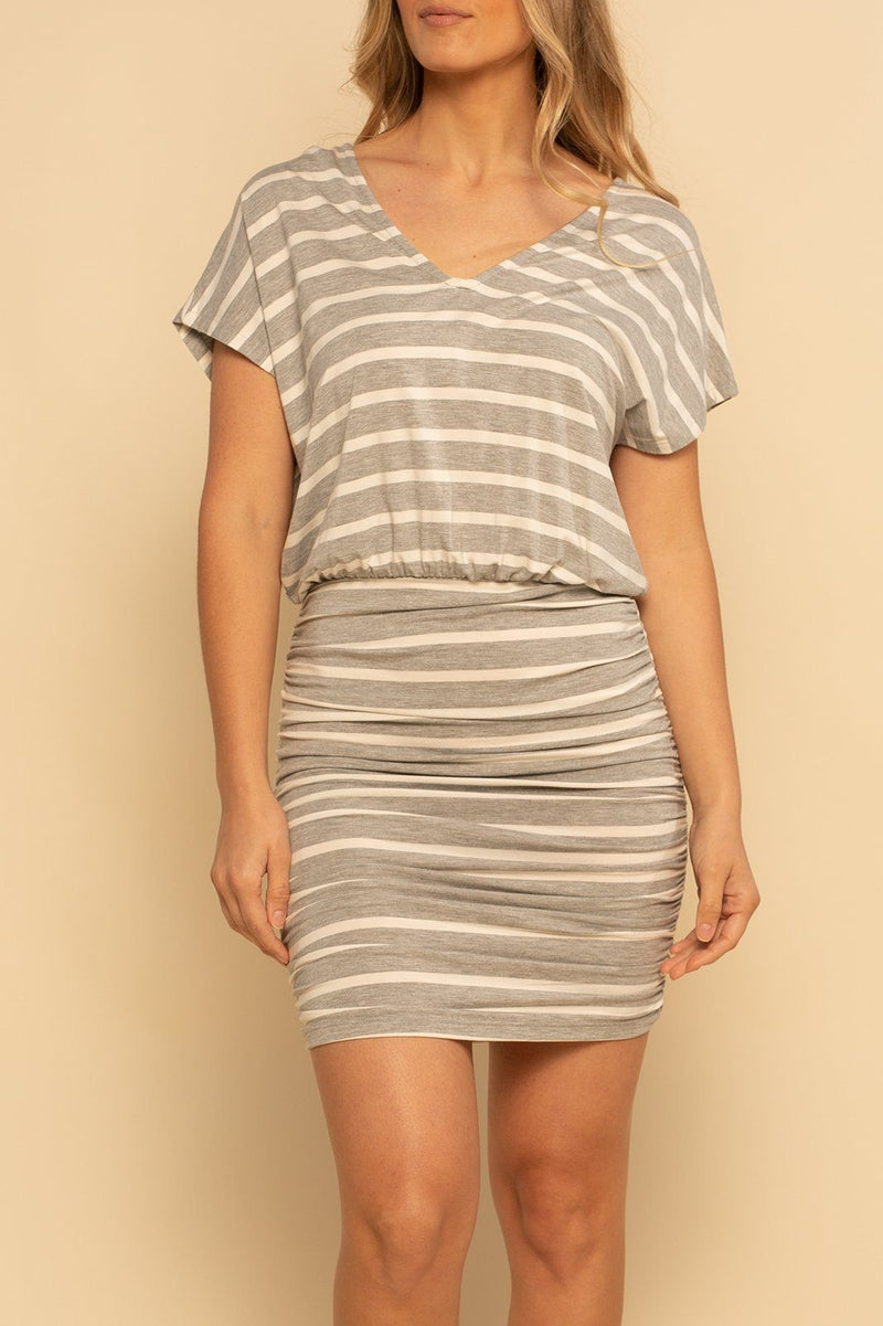 Mykonos Ruched Dress - Grey/Cream - Shore