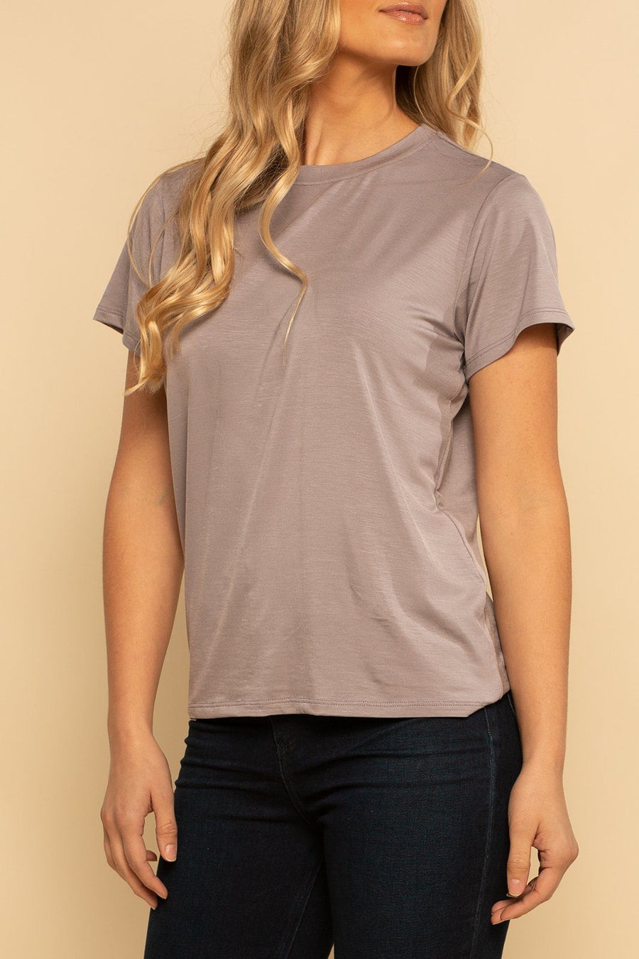 Solid Back Seam Tee - Gull - Shore