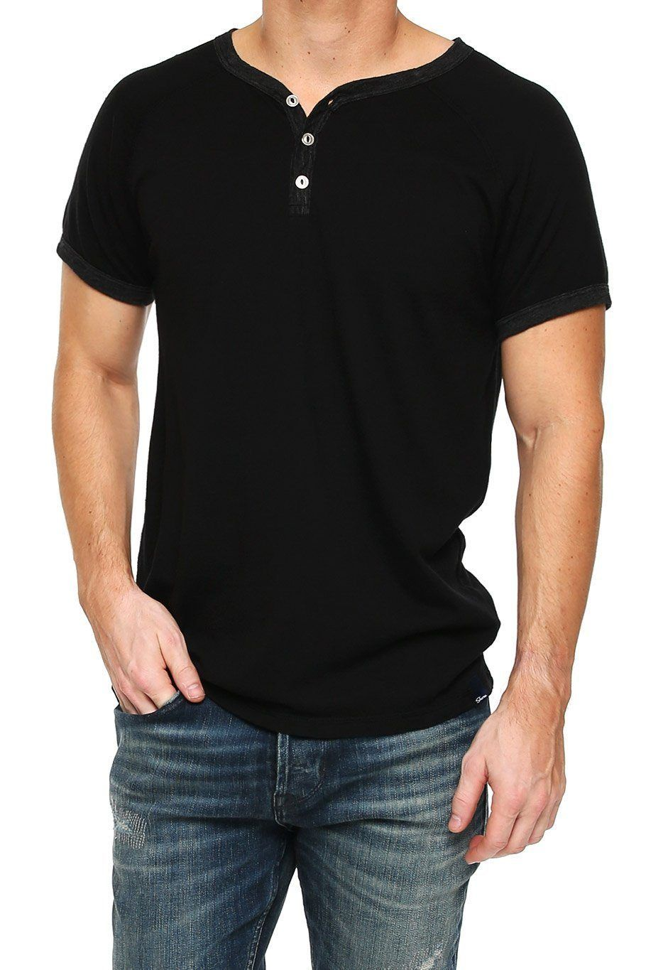 Short Sleeve Henley - Black - Shore