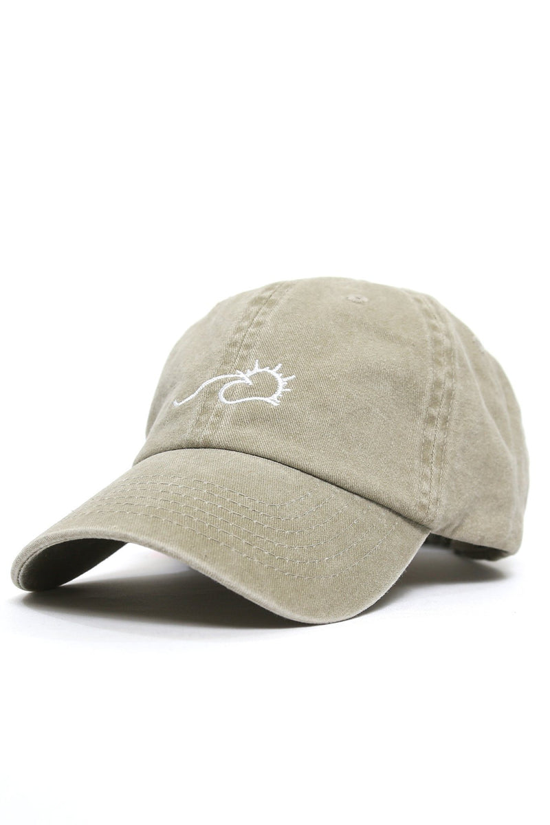 Sun Wave Solid White Logo Cap - Dark Khaki - Shore