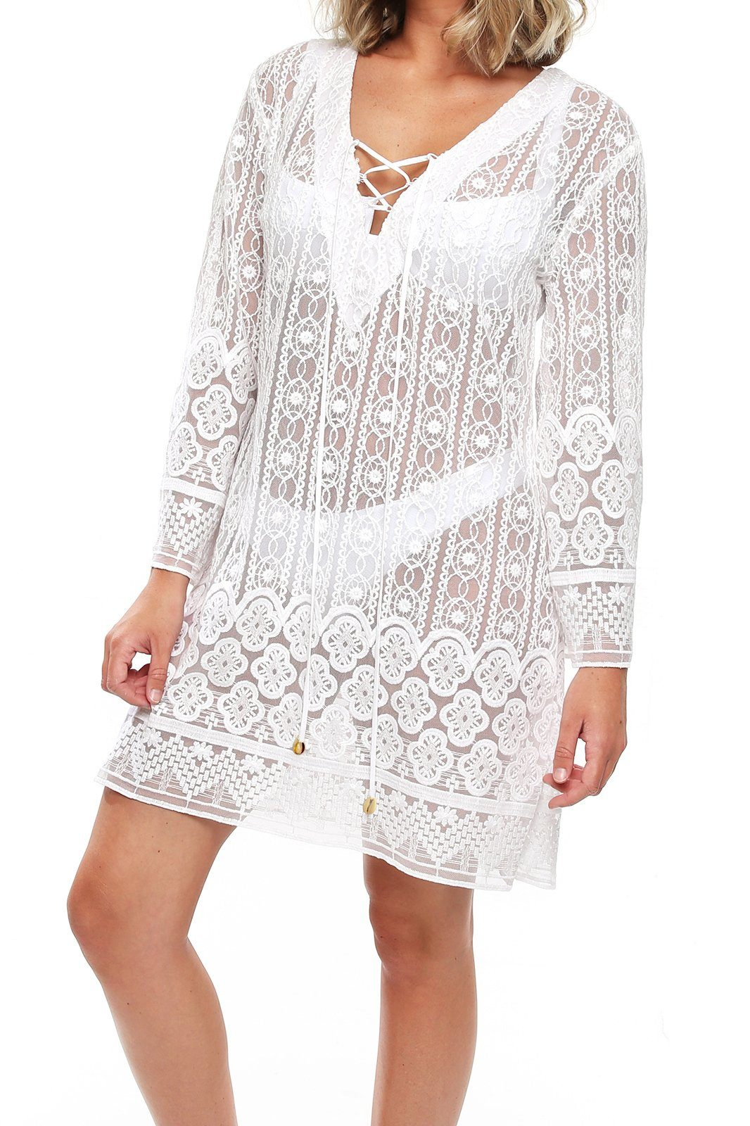 Milan Mini Dress - White Lace - Shore