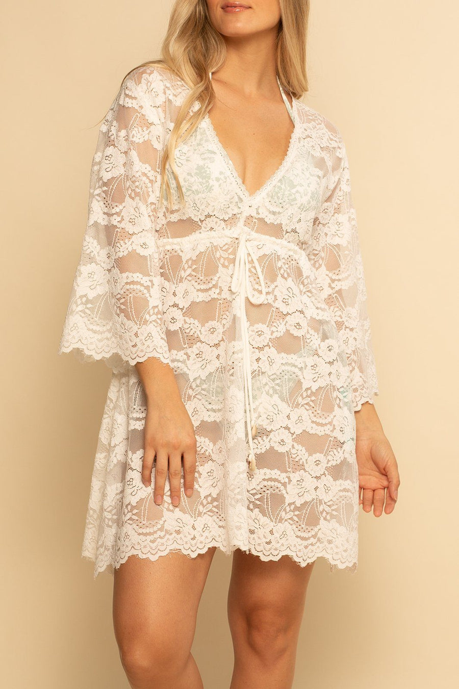 Palma Lace Dress - White Lace - Shore