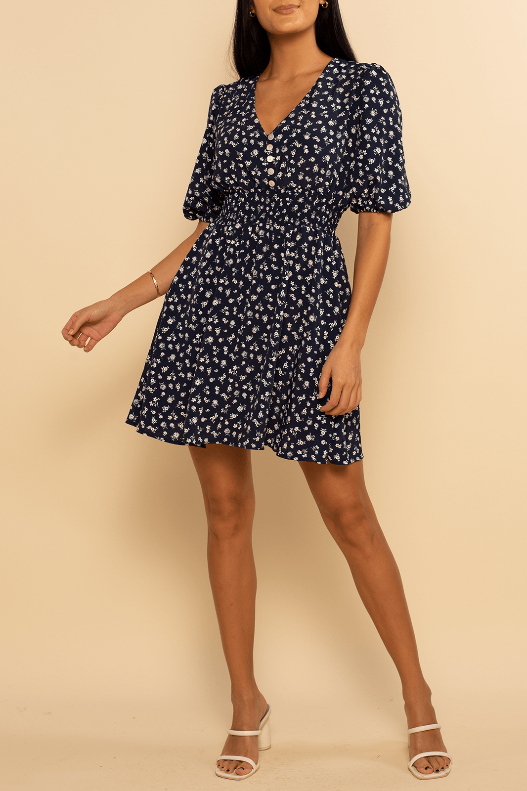 Laguna Button Dress - Navy Ditsy - Shore