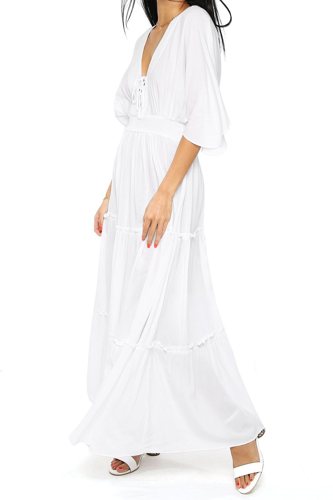 Layered Maxi Dress - White - Shore