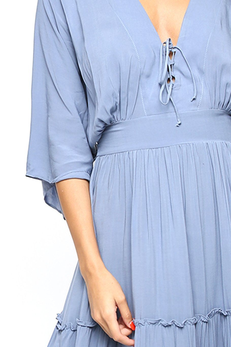 Layered Maxi Dress - Faded Denim - Shore