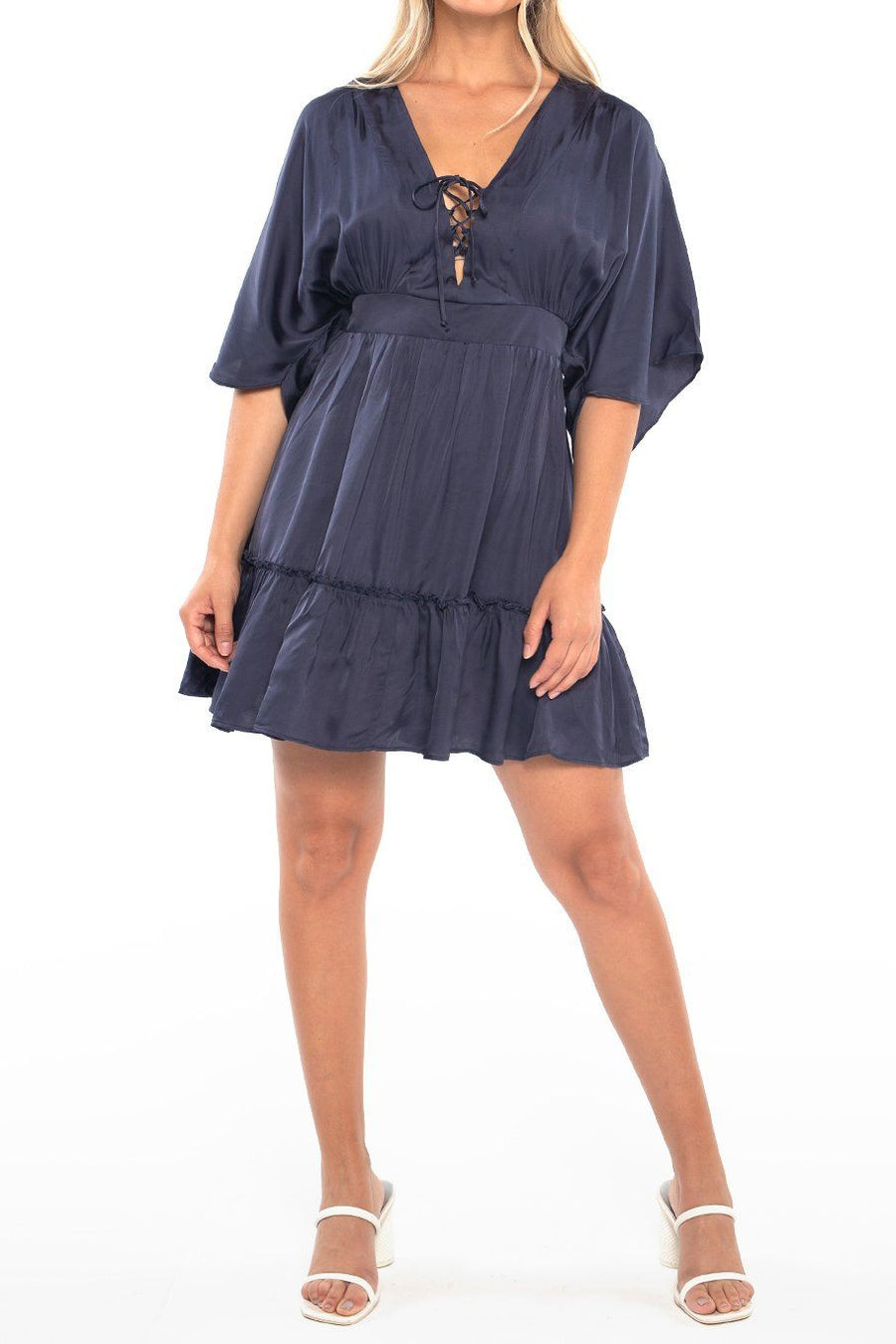 Lisbon Layered Mini Dress - Steel Blue - Shore