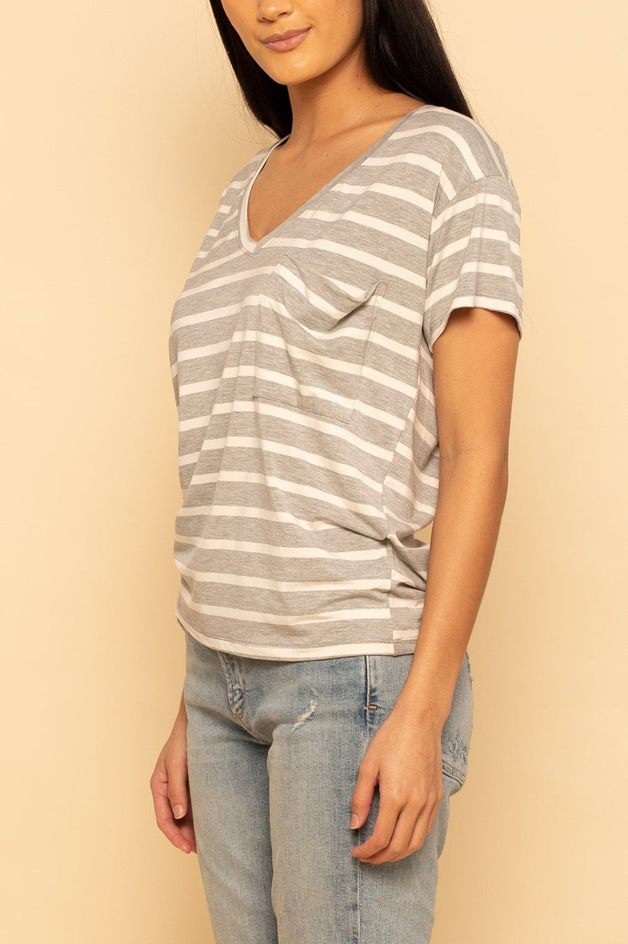 Pocket Tee - Grey Stripe - Shore